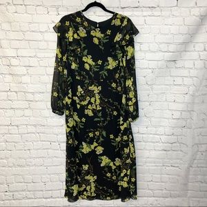 Who What Wear Black Yellow Long Floral Dress Lg